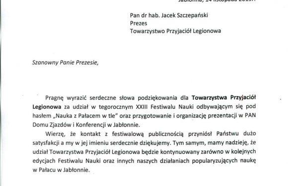 Podziękowania z Jabłonny